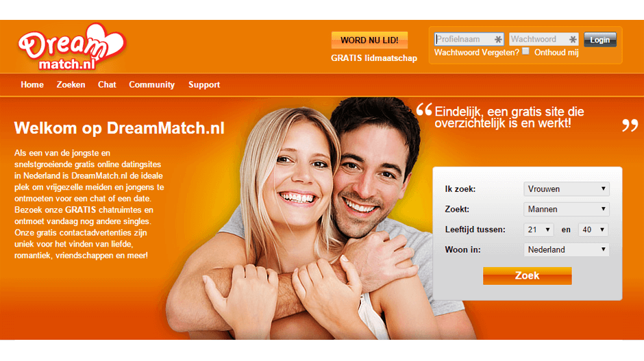 Screenshot Dreammatch.nl